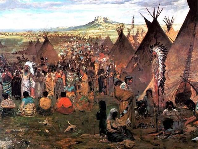 Un Accampamento Sioux in un quadro del Pittore francese Jules Tavernier