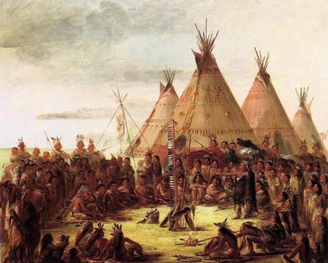 Un Concilio di Guerra Sioux in un quadro del Pittore Americano George Catlin