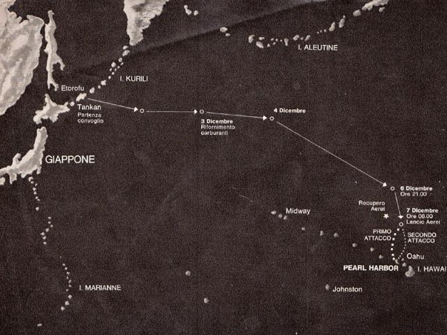 La Rotta seguita dalla Flotta Giapponese dalle Isole Curili alle Isole Hawaii