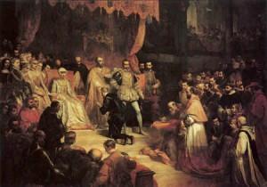 Abdicazione di Carlo V, dipinto di Louis Gallait, 1841.