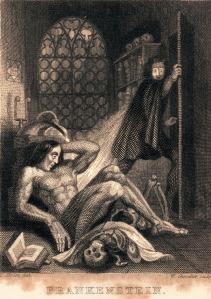 Illustrazione dalla copertina interna dell'edizione di Frankenstein del 1831