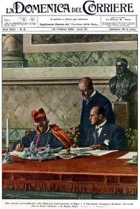 Il momento della firma dei trattati illustrato sulla copertina de La Domenica del Corriere