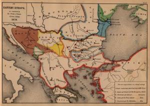 Mappa dell'Europa sudorientale nel 1878, evidenziante i nuovi assetti politici nati dal Congresso di Berlino