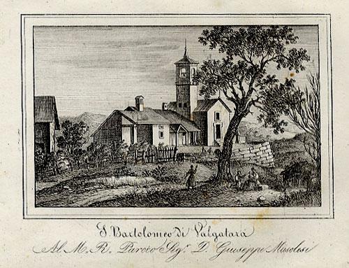 La Chiesa di San Bartolomeo come disegnata e incisa da Enrico Corty a metà Ottocento
